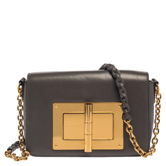 Item - Grey Leather Small Chain Natalia Shoulder Bag
