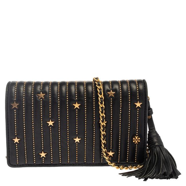 Item - on Chain Black Leather Flemming Star Studded Wallet