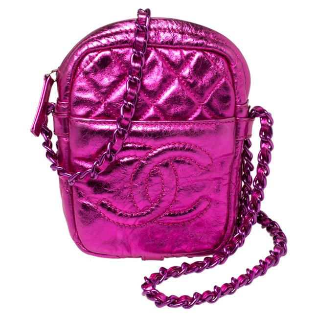 Item - Camera Metallic Pink Crinkled Leather Small Modern Chain Shoulder Bag