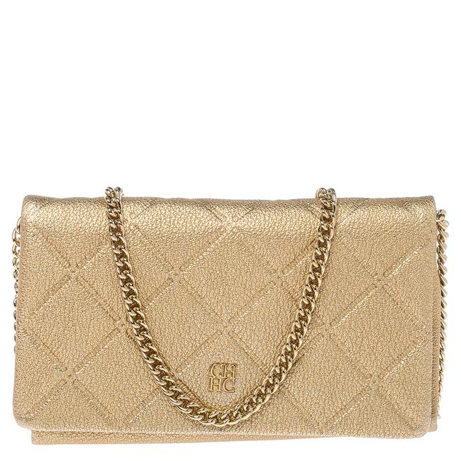 Item - Metallic Gold Quilted Leather Flap Chain Shoulder Bag