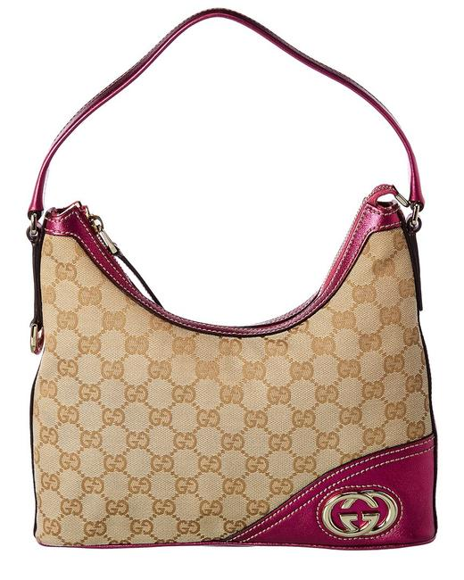 Gucci Pre-owned Gg Canvas & Pink Leather Bag Qfb04w0epb000 Tote Gucci Pre-owned Gg Canvas & Pink Leather Bag Qfb04w0epb000 Tote Image 1