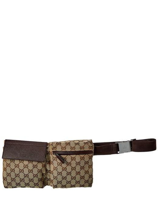 Gucci Pre-owned Brown Gg Canvas & Leather Double Pocket Waist Pouch Qfa1aejy0b009 Tote Gucci Pre-owned Brown Gg Canvas & Leather Double Pocket Waist Pouch Qfa1aejy0b009 Tote Image 1