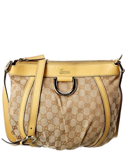 Item - Abbey Pre-owned Gg Canvas & Yellow Leather Large Qfb1ak0ey5000 Messenger Bag