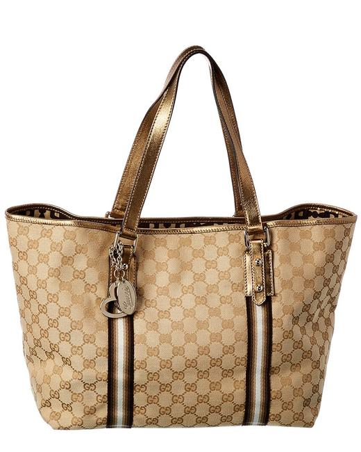 Item - Jolicoeur Pre-owned Gold Gg Canvas & Leather Qfb1cm0edb000 Tote