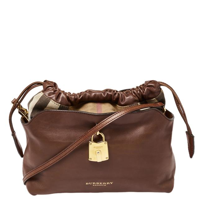 Item - Brown Leather and House Check Canvas Little Crush Shoulder Bag