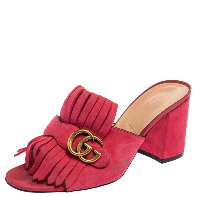 Item - Marmont Pink Suede Leather Gg Fringe Detail Open Size 40 Sandals