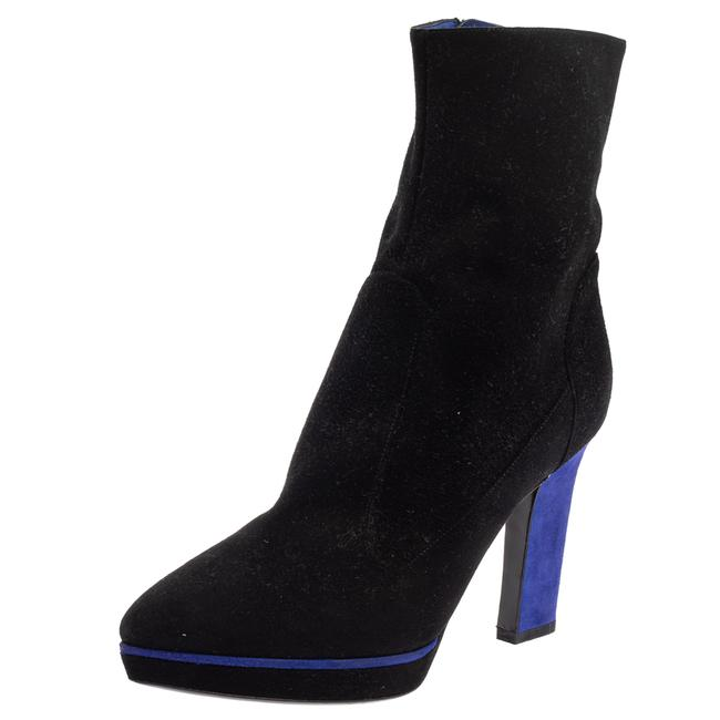 Item - Black/Blue Suede Zipped Ankle Size 40.5 Boots/Booties