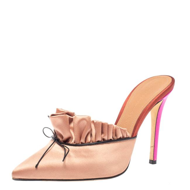 Item - Beige Satin Bow Pointed Toe Mules Size 37 Sandals