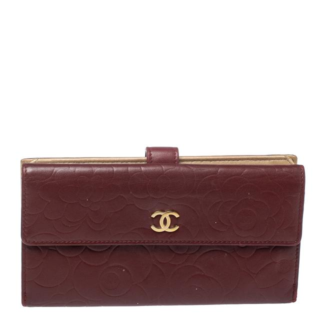 Item - Burgundy Camellia Embossed Leather Flap Wallet