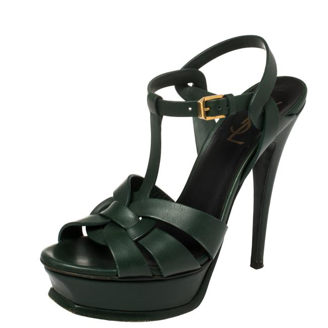 Item - Tribute Dark Green Leather Size 37.5 Sandals