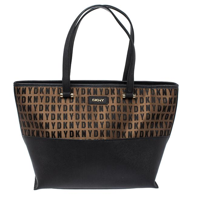 Item - Black/Brown Leather and Signature Canvas Donna Karan Tote
