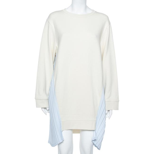 Item - Mm6 Off White Cotton Contrast Pleated Panel Detail Dress S Sweater/Pullover