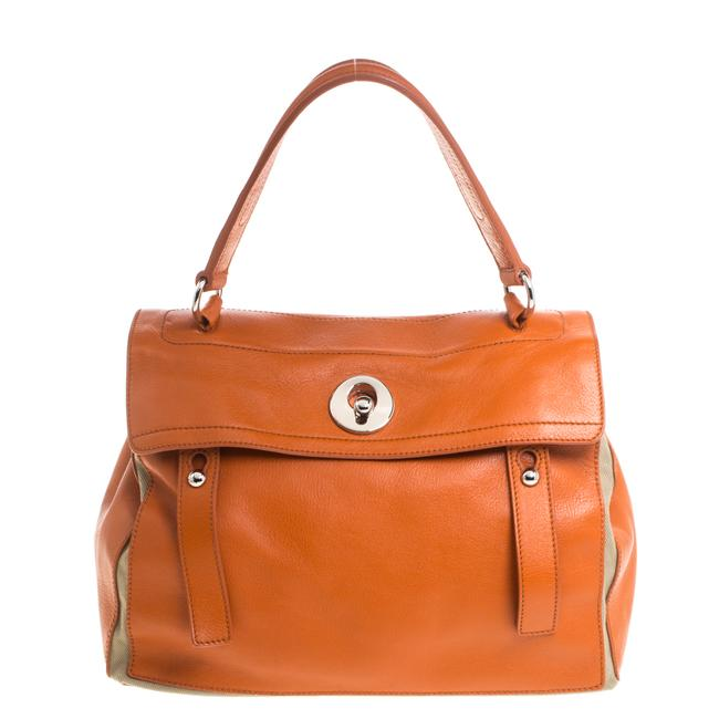 Item - Muse Two Yves Orange/Beige Leather and Canvas Satchel