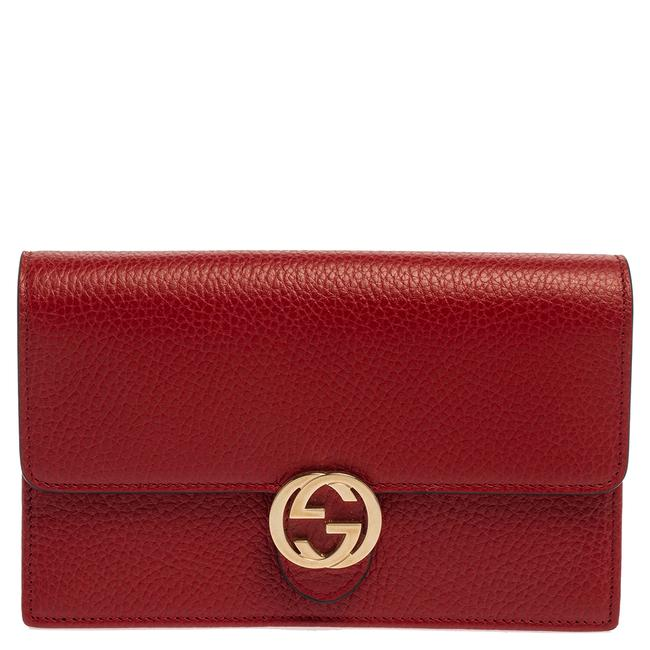 Item - on Chain Red Leather Interlocking G Wallet