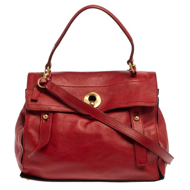 Item - Muse Two Yves Red Leather and Canvas Medium Satchel