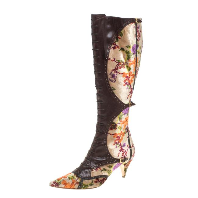 Item - Brown/Beige Floral Stampa Fiore Tall Velvet and Leather Size 39.5 Boots/Booties