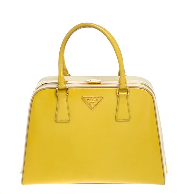 Item - Pyramid Two Tone Yellow Saffiano Vernice Leather Frame Satchel