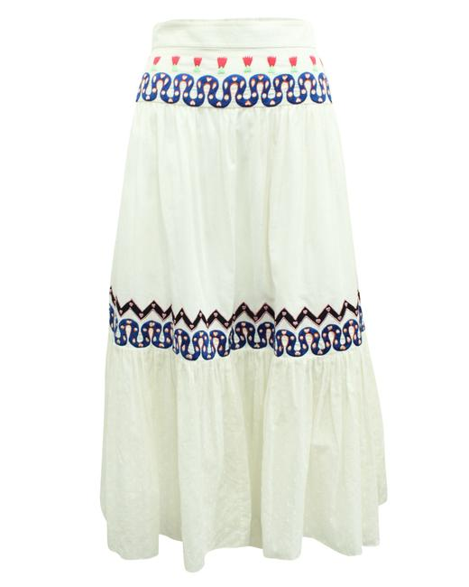 Item - Midi White with Embroidery -pre Owned Skirt