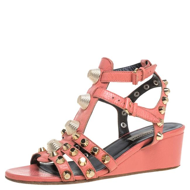 Item - Pink Leather Arena Studded Gladiator Wedge Size 37 Sandals