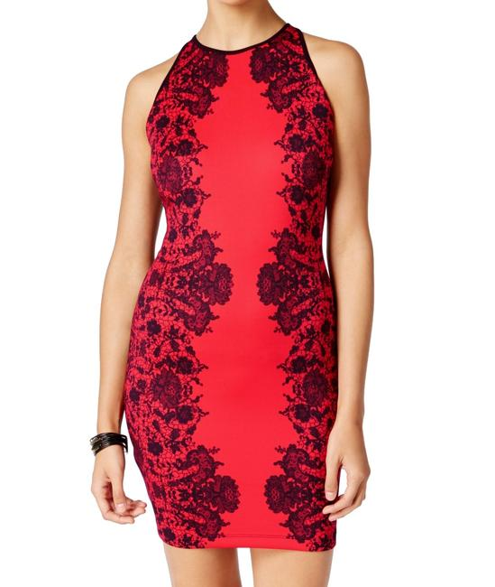 Item - Red Size 3 Junior Sheath Printed Floral Lace Bodycon Cocktail Dress
