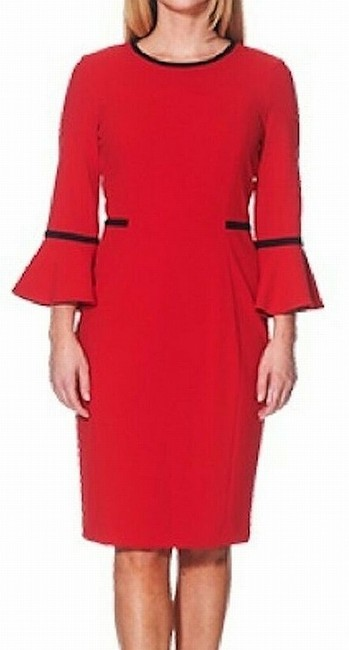 Item - Women's Red Size 20w Plus Sheath Piped Bell Sleeve Cocktail Dress
