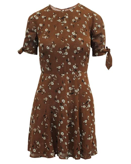 Item - Brown Floral Mini -pre Owned Condition Very Good Cocktail Dress