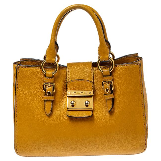 Item - Mustard Madras Leather Tote