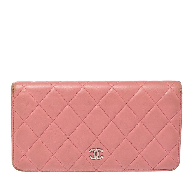 Item - L Pink Quilted Leather Yen Continental Wallet