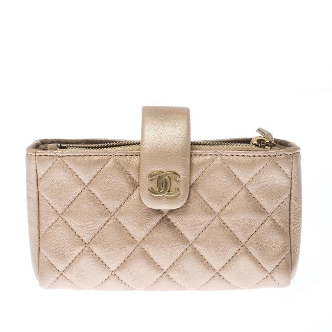 Item - Beige Quilted Leather Iphone Pouch Tech Accessory