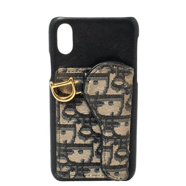 Item - Navy Blue Oblique Jacquard Canvas and Leather Iphone X Case Tech Accessory