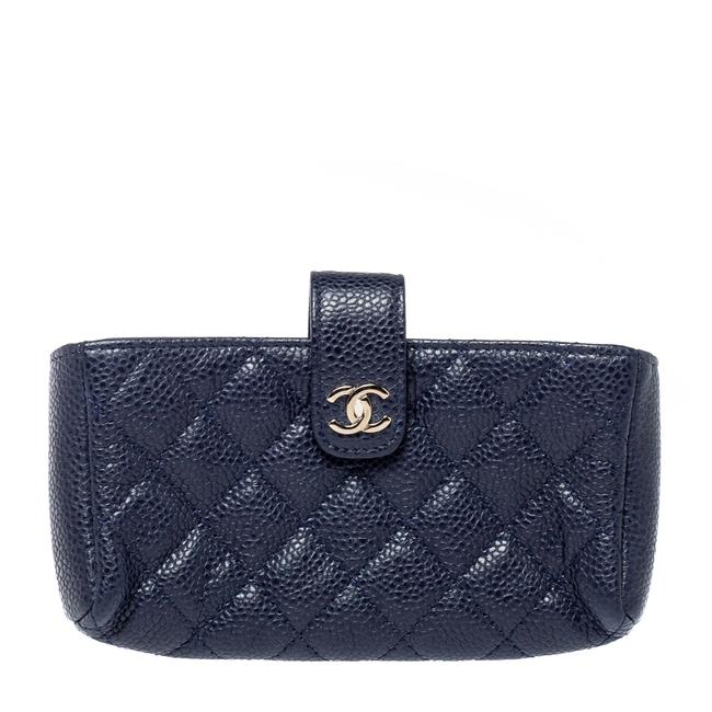 Item - Clutch Blue Quilted Caviar Leather Cc Phone Holder Tech Accessory