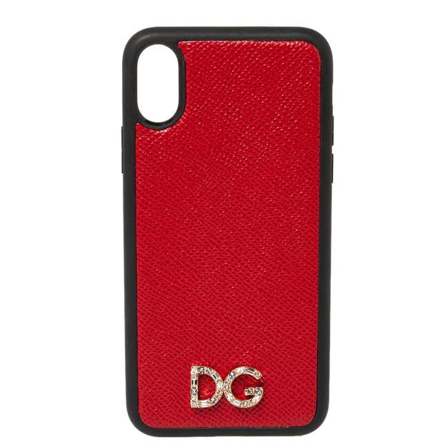 Item - Dauphine Dolce & Gabbana Red/Black Leather Iphone X Case Tech Accessory