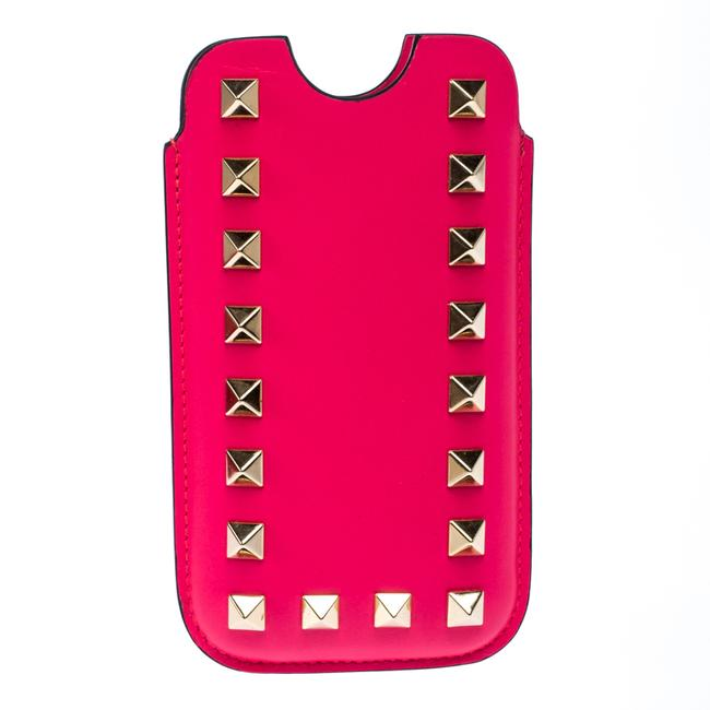 Item - Neon Pink Leather Rockstud Iphone 5/5s Case Tech Accessory