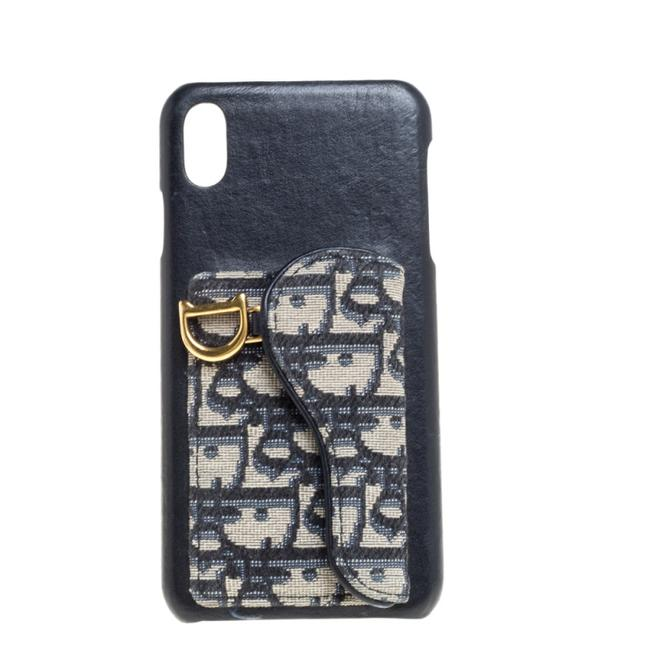 Item - XS Blue Oblique Jacquard Canvas and Leather Iphone Max Case Tech Accessory