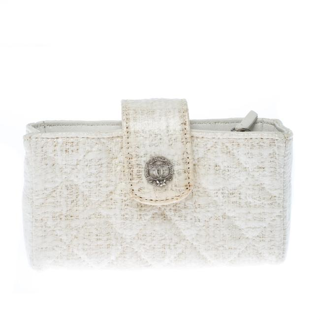 Item - White Quilted Coated Tweed Iphone Pouch Tech Accessory