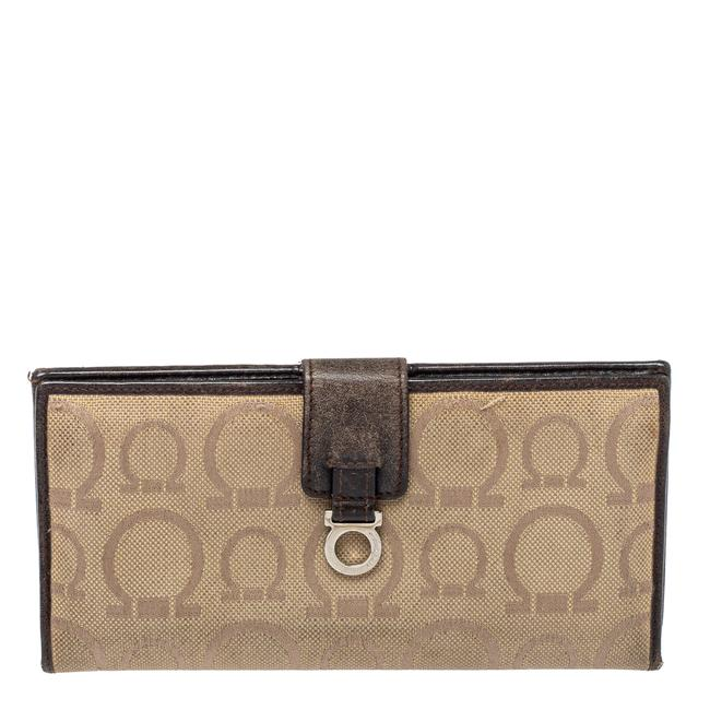 Item - Beige/Brown Gancini Canvas and Leather Wallet