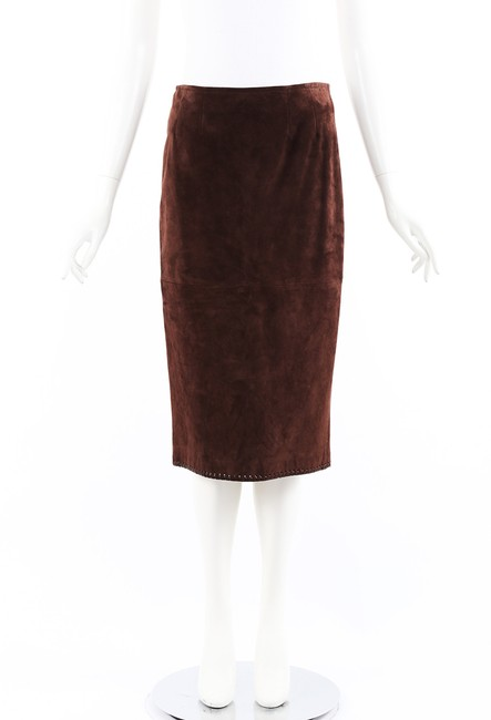 Item - Brown Leather Suede Midi Skirt