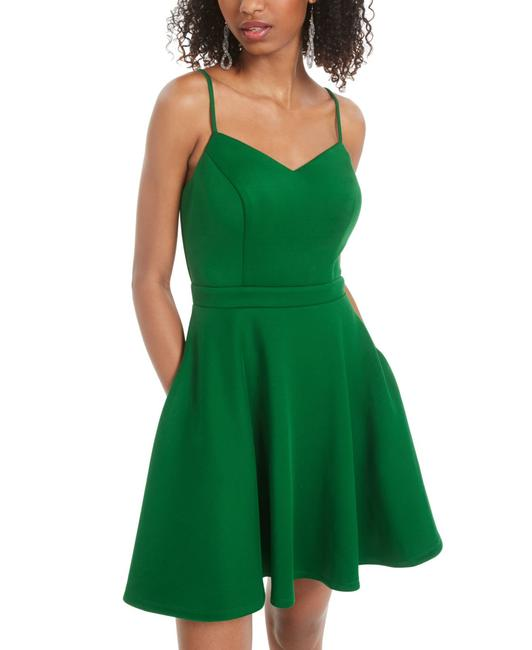 Item - Green Size 3 Junior A-line Pocket Tank Bow Back Cocktail Dress