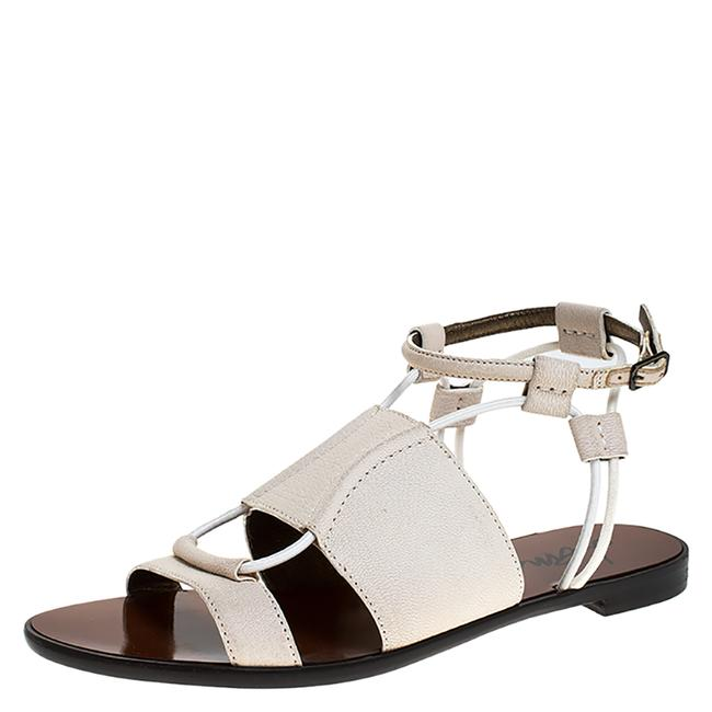 Item - Ivory Leather and Elastic Cord Ankle Strap Flat Size 36 Sandals