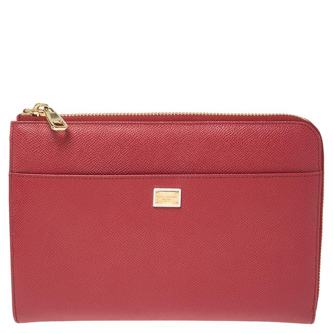 Item - Dolce & Gabbana Red Grained Leather Zip Ipad Case Tech Accessory