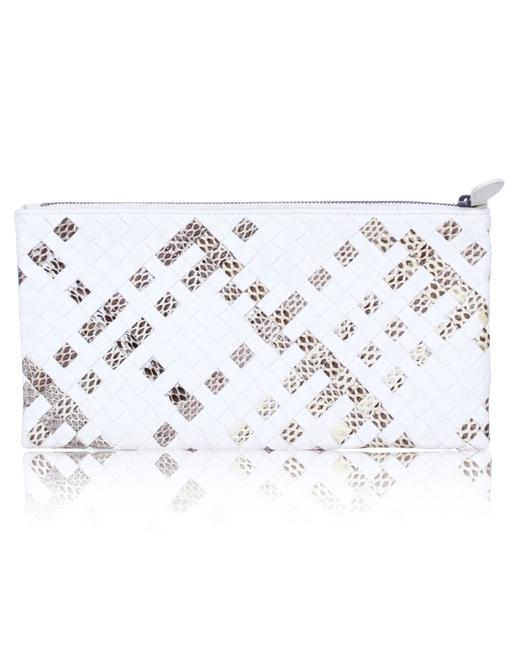 Item - White and Python Printed Intrecciato Pouch Clutch