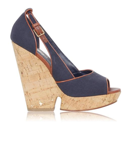 Item - Ysl Navy Blue with Gold Details On The Cork Wedges