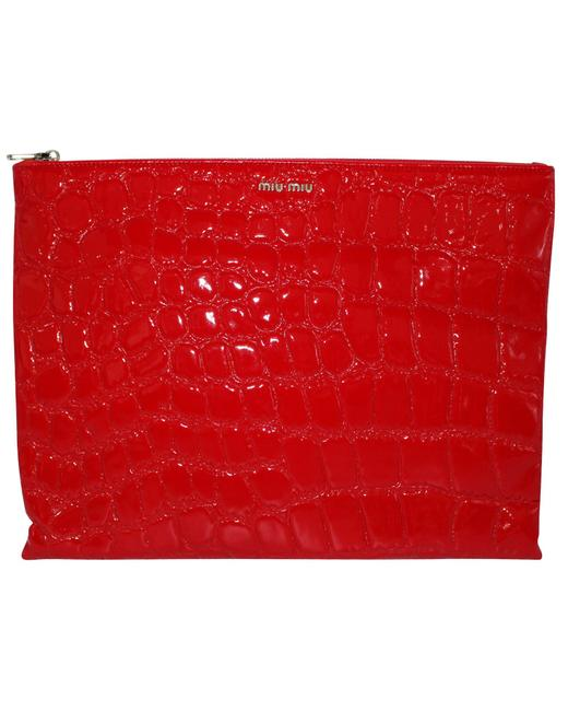 Item - Red Embossed Fabric Clutch