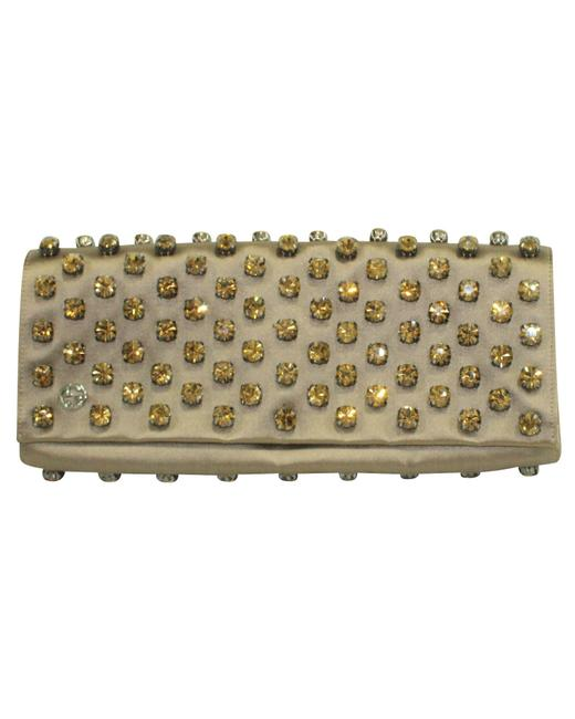Item - Satin Leather with Embellishments Clutch
