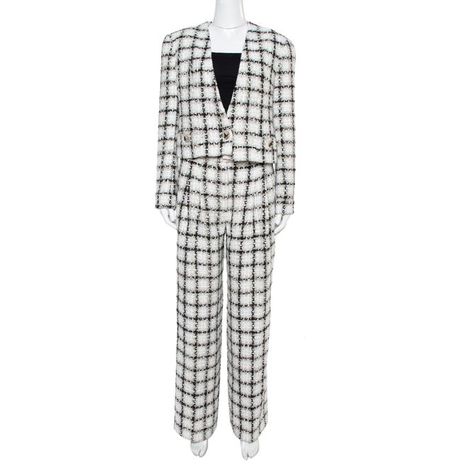 Item - White Checked Tweed Wide Leg Trouser Suit M