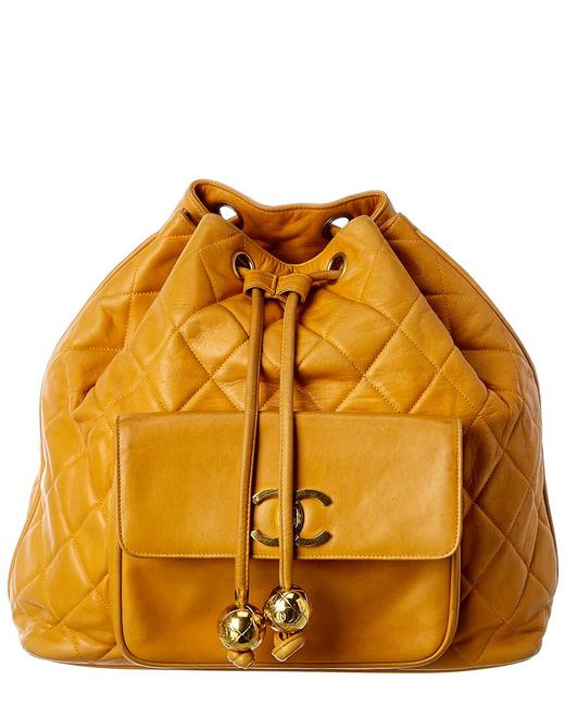 Item - Drawstring Pre-owned Yellow Lambskin Leather 7378-1 Backpack