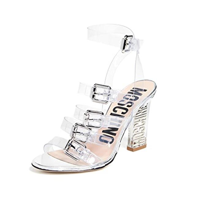 Item - Couture Women's Pvc Transparent Logo Heeled Silver Sandals