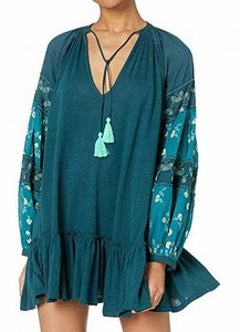 Free People Women's Jade Green Size Medium M Embroidered Tunic Cocktail Dress Free People Women's Jade Green Size Medium M Embroidered Tunic Cocktail Dress