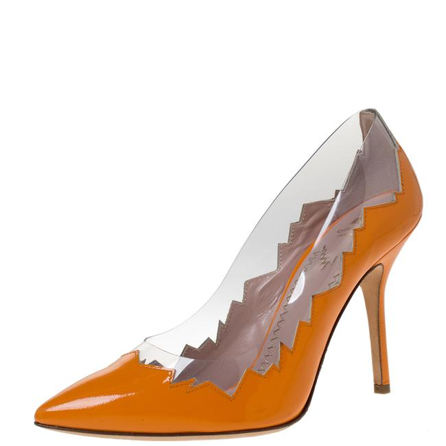 Item - Cheap and Chic Orange Patent Leather Laser Cut Size 38 Pumps