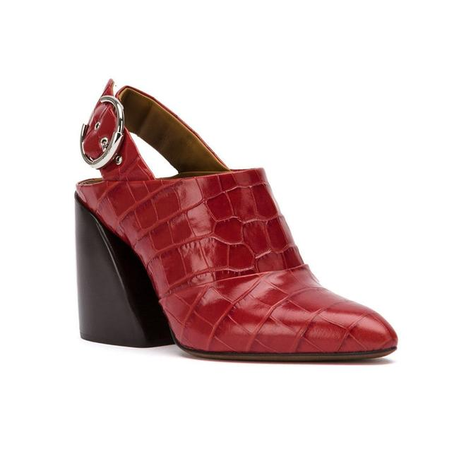 Item - Women's Leather Croco Embossed Slingback Mule Red Pumps